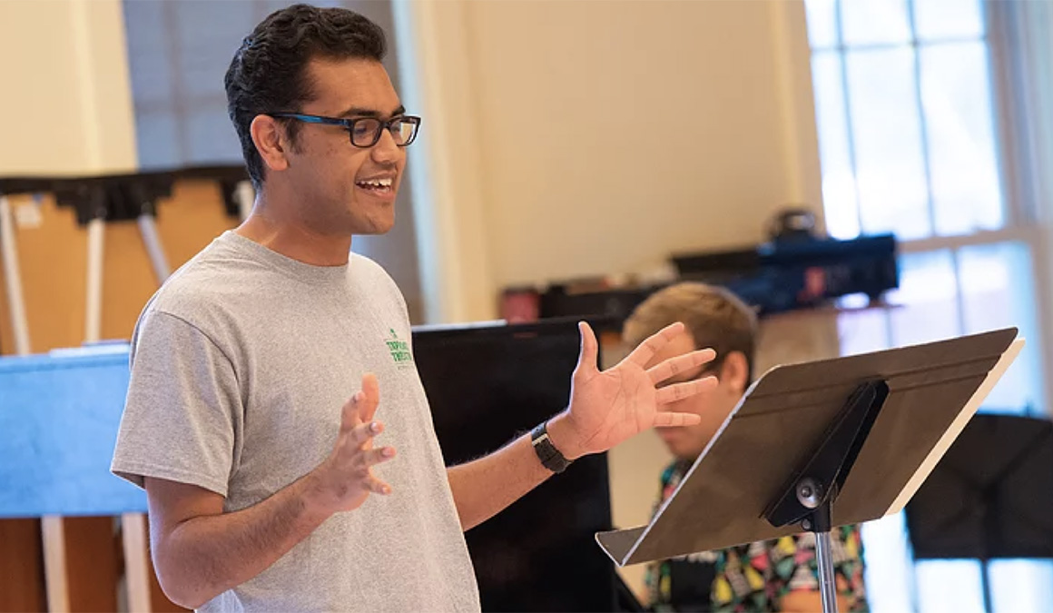 Ahon Gooptu '21 rehearses a musical number during his 2019 off-campus study with the National Theater Institute in Waterford, Connecticut.