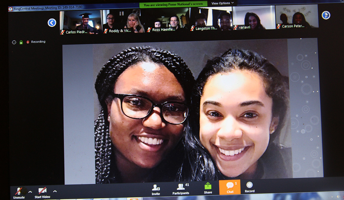 A photo of Taylor Gaskins '20, left, and Carson Peters '20 was shown during the Posse Scholars virtual graduation ceremony in June.