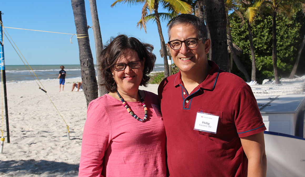 Kate Jackson '83, left, and Phil Guarco '82
