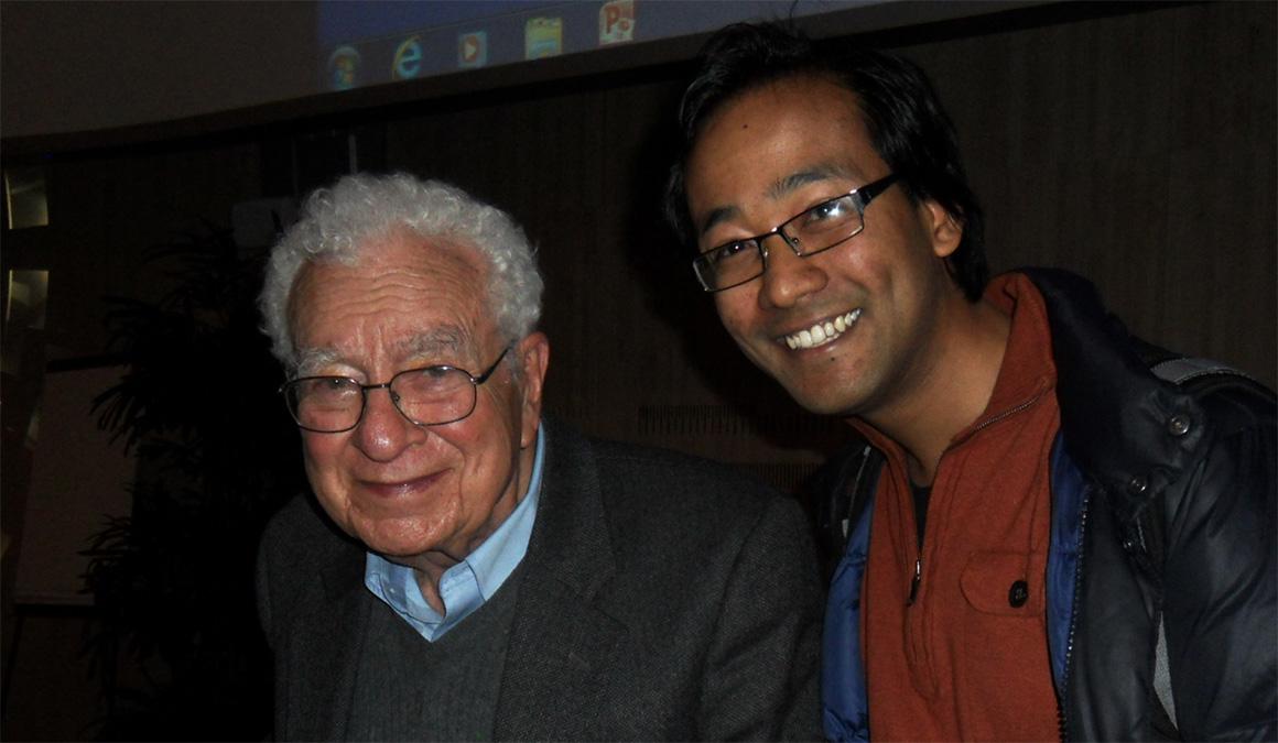 Suyog Shrestha '06, right, and physics Nobel Prize winner Murray Gell-Mann.