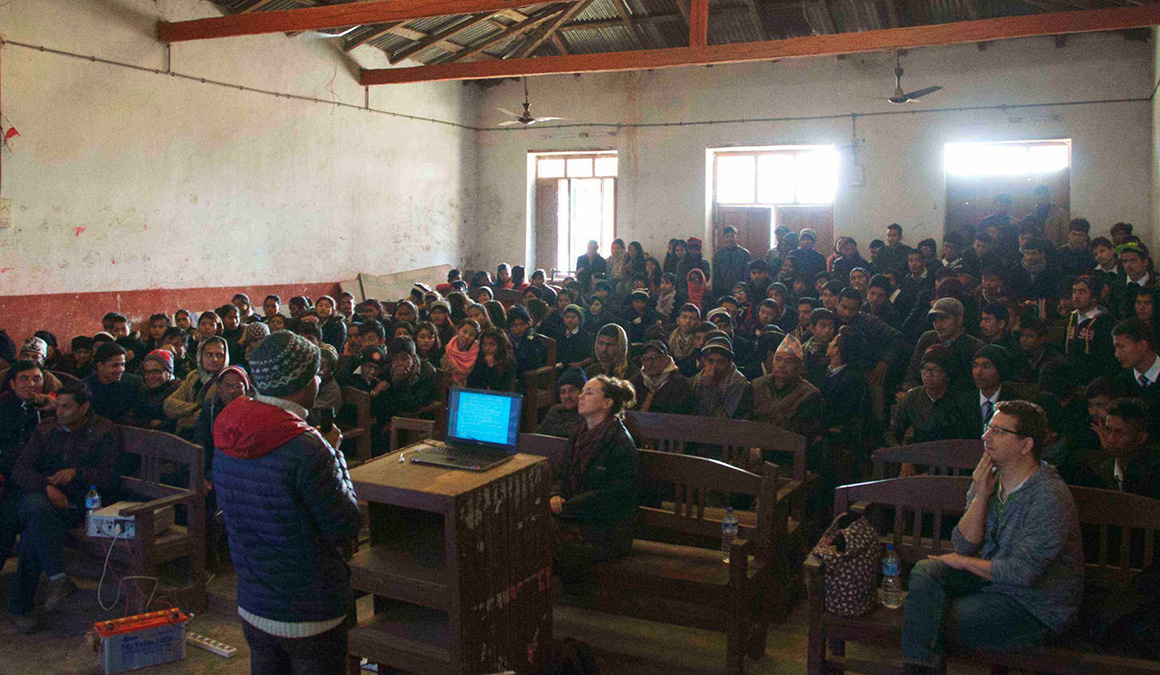 Shrestha gives a public outreach talk at Kamalamai High School in Sindhuli, Nepal, where he once was a student.